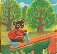 Teddy Bear on a Swing by Hanna Bechlerowa, Illustrations by J. Jurjewicz, Poland, 1975