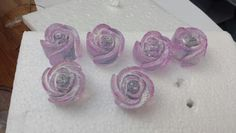 Hand cast glitter resin roses lilac drawer knobs/handles