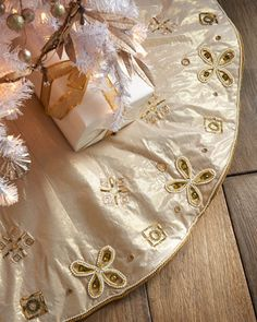 Bronze Gold Holiday Tree Skirt By Kim Seybert At Neiman Marcus