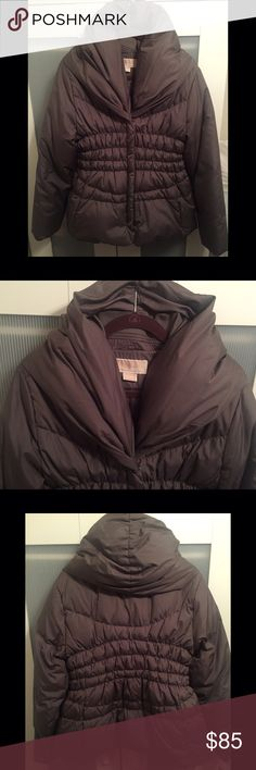 Like New! Michael Kors gray down jacket, size XL Jacket is down and was purchased from Macy's. It is warm and a very cute fit in a nice gray color that can pair with anything! The top hood-like area makes for extra warmth around your neck and ears. Has great pockets, too. Worn about two times, perfect condition! MICHAEL Michael Kors Jackets & Coats Puffers