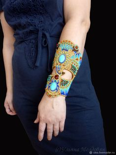 Wide bracelet wrist in Egyptian style заказать на Ярмарке Мастеров Beaded Cuff Bracelet, Beaded Jewelry, Crystal Jewelry, Silver Jewelry, Fashion Bracelets, Fashion Jewelry, Long Pearl Necklaces, Gold Necklace, Collar Necklace