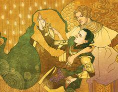 For Loki's Redemption project . Wow, I'm all about Loki these days. Thank God for commissions that keep my work somehow varied Inspiration: Gustav Klimt. Loki and Frigga Loki Thor, Loki Und Sigyn, Loki And Frigga, Loki Art, Loki Laufeyson, Tom Hiddleston Loki, Loki God Of Mischief, Anime Comics, Florence