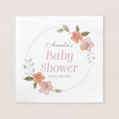 Delicate Floral Pink Girl Baby Shower Paper Napkin