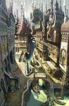 Big ol' D&D inspiration dump (D&Dump) Fantasy Town, Fantasy Forest, Fantasy Castle, Fantasy Map, Fantasy Places, Fantasy Artwork, Dark Fantasy, Fantasy Landscape, Landscape Art