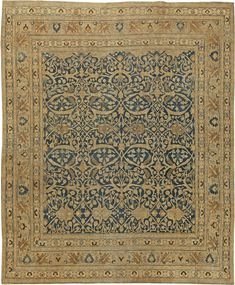 Antique Persian Rug Carpet Meshadwith floral ornaments. Interior living room…