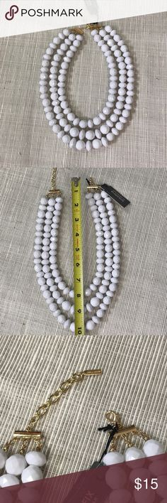 3 Strand Faceted White Bead Necklace NWT