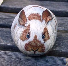 This is so wonderful, I would hate to put it in my rock garden. Hand painted rock. Big Bunny by Alika-Rikki, via Flickr