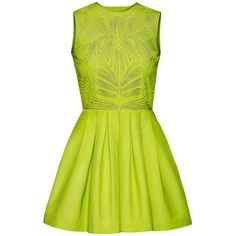 h&m conscious collection neon yellow beaded dress.