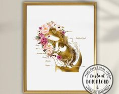 Doctors Office Decor, Medical Office Decor, Office Art, Pregnancy Art, Pregnancy Gifts, Doula, Medicine Illustration, Midwife Gift, Breastfeeding Art