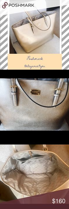 "MICHALE KORS NWOT Authentic Gold Tote! Authentic! New W/O Tags! Michael Kors! -Saffiano Leather  -18.5 (top), 15"" (bottom)""W X 12""H X 6""D  -8.5"" Handle Drop  -Interior: 1 Zip Padded Pocket, 4 Open Pockets, 1 Phone Pocket, 1 Zipper Pocket, 1 Key Chain  -Compatible With Laptop  -Zipper Fastening  -Lining: 100% Polyester  -Imported Retails $330 W/Tax. Perfect for a laptop, traveling, or everyday adventures! Sorry no trades. @elegance4you Michael Kors Bags Totes"