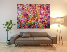ARTFINDER: Abstract transition II (Falls) by Nestor Toro - Vibrant piece with bold color blending, drips and big palette knife strokes. This painting conveys motion and energy as well as lots of light and fast change...