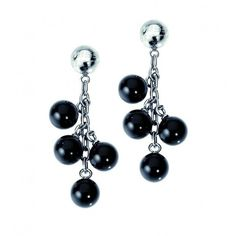 Miss Sixty Jewels Balloon Ss Earrings Four Black Balls ❤ liked on Polyvore featuring jewelry and earrings