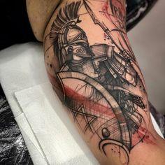 Gladiator Tatto - Thinks Tatto Tribal Tattoo Designs, Tribal Tattoos For Men, Dope Tattoos, Tattoo Sleeve Designs, Tattoos For Guys, Forearm Band Tattoos, Leg Tattoos, Body Art Tattoos, Sleeve Tattoos