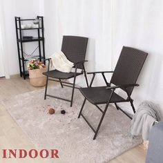 PE rattan seat and back. Durable enough to last outside all season longSturdy metal frame. PE rattan seat and back. Durable enough to last outside all season long Folding Furniture, Outdoor Wicker Furniture, Folding Chair, Furniture Ideas, Outdoor Decor, Patio Bar Stools, Bistro Set, Rattan, Accent Chairs