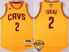 Men's Cleveland Cavaliers #2 Kyrie Irving 2016 The NBA Finals Patch Yellow Jersey