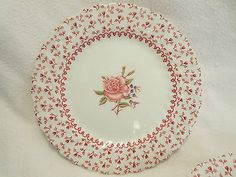 Lot of 6 Vintage 1930's Johnson Brothers China Rose Bouquet Dessert Bread Plates