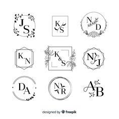 Collection of wedding monogram logos Vector Wedding Logo Design, Elegant Logo Design, Modern Logo Design, Wedding Logos, Monogram Wedding, Wedding Monograms, Wedding Quotes, Wedding Wishes, Monogram Logo