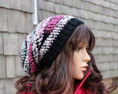 Adirondak Boho Slouchy Beanie in Pink Gray and Black by Threadmill, $29.50