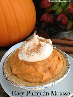 Pumpkin dip or mouse!   A tub of Brown sugar n cinnamon cream cheese spread, cool-whip, can of pumpkin and mix! Prepare in just 5 minutes!  A family favorite for Thanksgiving.