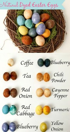 Natural Dyed Easter Eggs---absolutely NO chemicals. Just spices from the kitchen cabinet, water and a splash of vinegar.
