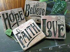 Engraved tile coasters | Faith Hope Love Believe Engraved Slate Accent by JustinRVisser