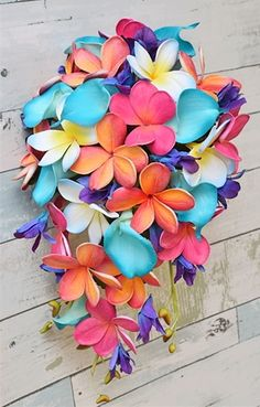 Natural Touch Coral, Purple and Teal Turquoise Callas, Plumerias & Orchids Cascade Bouquet Church Wedding Flowers, Beach Wedding Reception, Lilac Wedding, Flower Bouquet Wedding, Wedding Colors, Beach Weddings, Romantic Weddings, Wedding Ceremony, Orchid Bouquet
