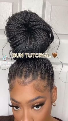 Cute Box Braids Hairstyles, Box Braids Hairstyles For Black Women, Hair Ponytail Styles, Braids Hairstyles Pictures, African Braids Hairstyles, Baddie Hairstyles, Braids For Black Hair, Girl Hairstyles, Box Braids Bun