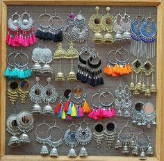 Silver Earrings Clip On Indian Jewelry Earrings, Indian Jewelry Sets, Jewelry Design Earrings, Silver Jewellery Indian, Indian Wedding Jewelry, Ear Jewelry, Cute Jewelry, Silver Jewelry, Silver Earrings