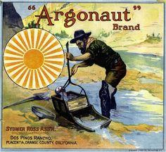 Placentia Argonaut Gold Miner Orange Crate Label Print | eBay