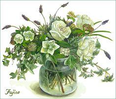 9 庭の草花を ー 水仙とクレマチス ー