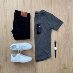 Men Casual T-Shirt Outfit 🖤 Very Attractive Casual Outfit Grid, Outfits Casual, Stylish Mens Outfits, Men Casual, Fashion Outfits, Casual Outfit For Men, Casual Styles, Casual Attire, Casual Shirts For Men, Casual Chic