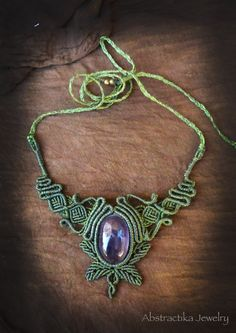 Woodlands macrame necklace with amethyst gemstone. Earthy jewelry, forest jewelry, micro-macrame, faery jewelry, goddess jewelry, leaf