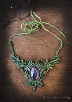 Woodlands macrame necklace with amethyst gemstone. Earthy jewelry, forest jewelry, micro-macrame, faery jewelry, goddess jewelry, leaf