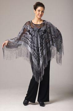 Grey Burnt Out Velvet Pancho Top: Western Wear | Women Western Clothing | Western Apparel Clothing