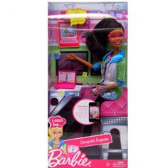 Barbie works at a computer all day too