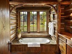 Baie rustica intr-o cabana din lemn rotund Rustic Bathroom Designs, Rustic Bathroom Decor, Rustic Bathrooms, Bathroom Ideas, Log Cabin Kitchens, Built In Bathtub, Bathroom Vanity Makeover, Property Design, Kitchen And Bath Design