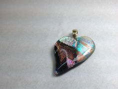 Heart  Fused Dichroic Glass Necklace Pendant by Mtbaldyglassworks, $25.00