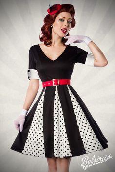 Godet Schnitt und #Rockabilly Elemente vereinen sich zu diesem schicken Kleid in einer Mischung aus feiner Eleganz und süßer Verspieltheit. https://www.burlesque-dessous.de/rockabilly/kleider/rockabilly-kleider/rockabilly-godet-kleid-schwarz/weiss