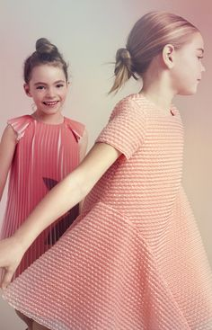 Textured fabrics and special pleated pieces at Baby Dior for summer 2016
