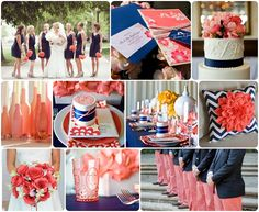 Coral and Navy. Add gold and these are our colors!