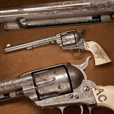 Colt Frontier Six-Shooter- Sometimes the GOTD just calls for a classic .44. In the West, things were rugged enough on the frontier without having to acquire different cartridges for one's rifle and revolver. Colt's .44-40 single-action could accommodate the same cartridges employed in the like-chambered Winchester M1873 & M1892 rifles & carbines. Thus one box of .44 cartridges from the store could serve in either long gun or handgun. NRA Museum in Fairfax, VA.