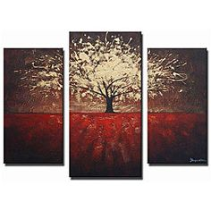 @Overstock.com - Create a dramatic focal point in any room with this extra-large abstract hand-painted canvas art. 'Golden Foliage' displays a warm red field with a gorgeous golden tree with a burgundy background, which splays across three ready-to-hang canvases.http://www.overstock.com/Home-Garden/Golden-Foliage-Hand-painted-Canvas-Art/5286004/product.html?CID=214117 $146.99
