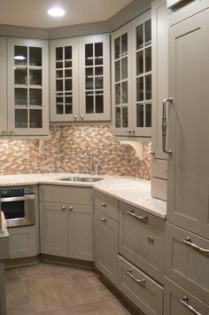 Kitchen Corner Kitchen Sink Cabinet Designs: Hardwearing Stainless Steel  Corner Sink Combined With Attractive Backsplash Glass And Woodencabinet  Furniture ...