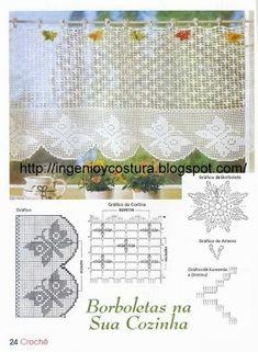 Kira scheme crochet: Scheme crochet no. Irish Crochet Patterns, Filet Crochet Charts, Crochet Borders, Crochet Motif, Crochet Designs, Crochet Doilies, Crochet Curtain Pattern, Crochet Curtains, Crochet Tablecloth
