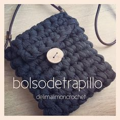 Bolso #trapillo #tutorial Modern Crochet, Love Crochet, Crochet Yarn, Crochet Handbags, Crochet Purses, Finger Knitting, Loom Knitting, Cotton Cord, Crochet T Shirts