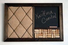 Burlap French Memo Board, Wine Cork board & Chalkboard Kitchen Organizer