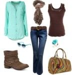 Casual Brown & Teal Outfit