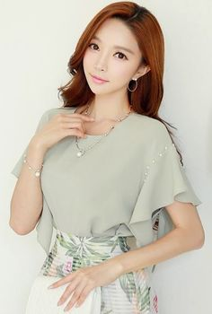 StyleOnme_Pearl Detail Butterfly Sleeve Blouse #light #green #pearl #butterfly #sleeve #spring #summer #elegant #feminine #koreanfashion #kstyle