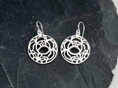 925 Sterling Silver Circle Earrings w/ Flower Design (Order)