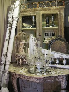 Stunning vignette of salvaged treasures @ Curious Boys